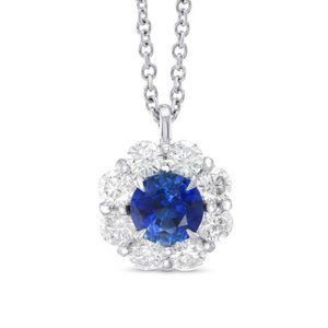 Jewelry - White Gold 14K Sri Lanka Sapphire And Round Shaped